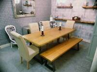 Rustic Industrial Dining Table, Bench & 4 Chairs