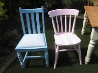 Kitchen dinning chairs x 2 in painted in baby pink and baby blue