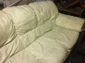 3 seater cream leather settee