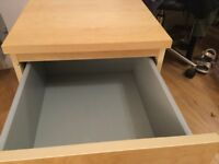 Ikea Malm 2 drawer bedside table light wood coloured