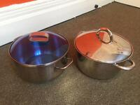 Two Large Stainless Steel Pots used, good condition