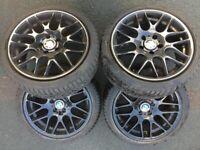 """BMW 3 SERIES 18"""" CSL STYLE ALLOY WHEELS & TYRES X 4 E46 E90 E91 E92 E93 5x120"""