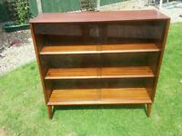 Beautiful Mid Century 3-tier Teak Bookcase / Display Unit - glass doors