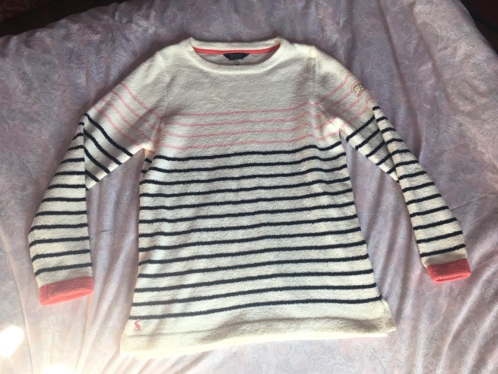 Joules cream and pink and navy sweater jumper top