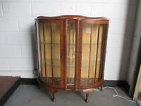 VINTAGE BARGET MAHOGANY GLAZED DISPLAY CABINET COCKTAIL CABINET DRINK CABINET WITH KEY FREE DELIVERY