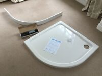90cm Quadrant Shower Tray with riser kit and waste trap