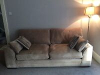 Beautiful 3 piece large 3 seater, large 2 seater and ottoman beige with grey stripe velour