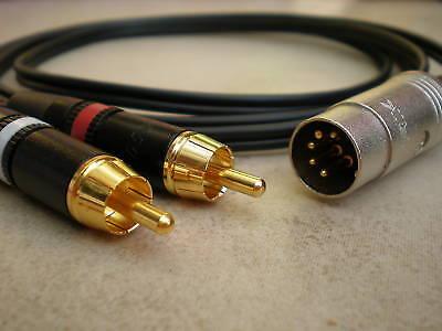 Rca Phono Lead - 2 Phono/RCA Plugs to Naim / Quad  Aux Cable/Lead  (5 Pin Din Plug)  1.5m