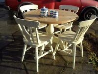 Shabby Chic Solid Pine Farmhouse Country Round Table and 4 chairs in Farrow & Ball Cream No 67