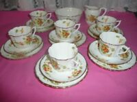 Vintage 20 piece Teaset with Oraange/Yellow Spring Flowers.