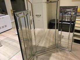 Bevelled Triple Dressing Table Mirror