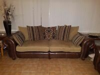 Fabric & Real Leather 2 piece suite - 4 seater & cuddle chair - scatter back