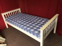 WHITE WOODEN SINGLE BED WITH MATTRESSES,CAN DELIVER