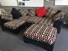 Corner Sofa for Sale. Good condition including cushions. Including Foot Stool.