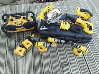 dewalt 18v 5 piece kit plus radio charger + 2 spare combi drills + charger, offers welcome.