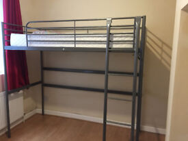 Ikea Loft bed silver bed frame with firm mattress