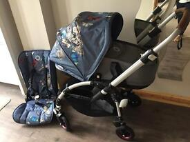 Bugaboo bee 5 with grey melange carrycot with Botanic hood immaculate condition