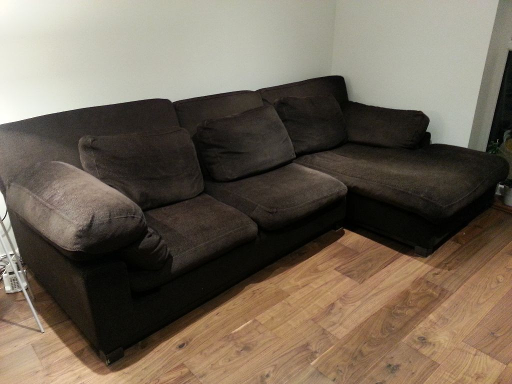 roche bobois large chocolate brown 3 seater corner chaise sofa right hand in norwood london. Black Bedroom Furniture Sets. Home Design Ideas