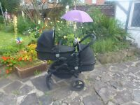 icandy Peach3 Twin/double complete travel system with extras in Jet black