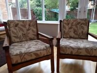 Solid pine wooden chairs with cushions (Set)