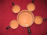 Stoneware Soup Serving Pan and Four Soup Dishes with Handles