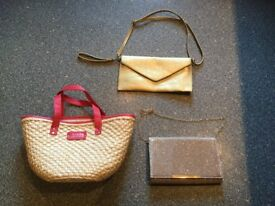 3 X BAGS being sold all together for 1 price. Gold shoulder/clutch bag is BRAND NEW.