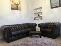 Chesterfield leather 3 seater sofa, single chair and footstool