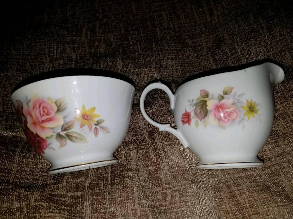 Queen Anne creamer and sugar bowl