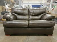 DARK BROWN GENUINE LEATHER SOFA ON WOODEN FEETS / SETEE / SUITE AS NEW CONDITION DELIVERY AVAILABLE