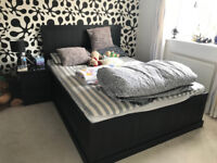 Nice Ikea kingsize bed and bedside table for sale