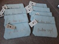 Wholesale/Job Lot Ta Da! Shruti Designs 'Pucker Up' Teal faux suede cosmetic bags x 9 - New