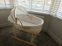John Lewis Waffle Moses Basket with a Clair De Lune Rocking Stand