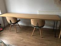 Oak desk with two chairs
