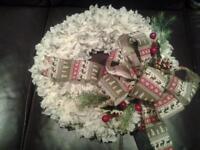 handmade christmas ruffle wreath red and green