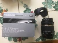 Tamron 18-270mm f3.5-6.3 Di II VC PZD ultra zoom lens for Canon DSLR cameras, boxed