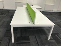4 positions office workstation desk table white with divider and cable tray 240cm length