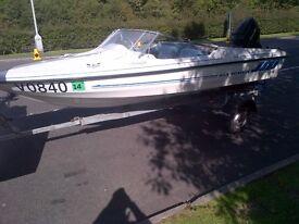 **Fletcher arrowflyte gto speed boat & snipe trailer 60hp**