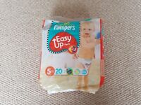 Pampers easy up pull ups size 5 nappies