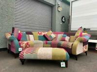 (Purchased) Beautiful DFS patchwork corner sofa & stool delivery 🚚 sofa suite couch furniture