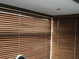 WOODEN VENETIAN BLINDS (3 of FOR BAY WINDOW)WALNUT COLOUR