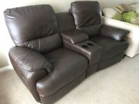 Two Seater Reclining Brown Leather Cinema Sofa
