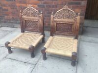 2 Low Chairs Folding Wood Chairs Indian Style Well Made Unusual Pair of Hardwood Chairs