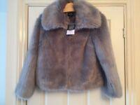 Topshop petite uk 6 grey fur coat