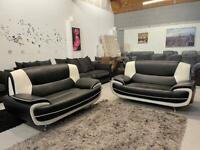 Black and white leather 2+2 seater sofa set