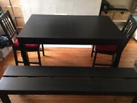 Extendable Dining table with 4 chairs and a bench £80 ONO, asap, collection only