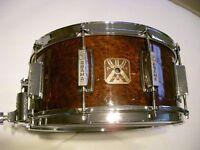 """Asama percussion wood-ply snare drum 14 x 6 1/2"""" - Exotic burl veneer - Tama King Beat homage"""