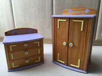 Bear Factory wooden wardrobe & chest of drawers