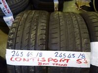 SET OF 4 MATCHING 245 45 18 CONTISPORT5s 7mm TREAD £80 PAIR SUPP & FITTED £150 SET OF 4 TEXT SIZE TO