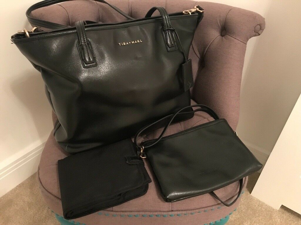 b36695fa02a4 Tiba & Marl Mabel tote changing bag black, great condition. Changing mat  and clutch included.