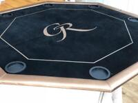 """POKER TABLE TOP (FOLDING) 1.22m/48"""" 8 Players Table with Chip Trays & Drink Holders."""